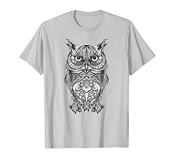 Beautiful Owl Tribal Aztec Hand Drawn Art T-Shirt