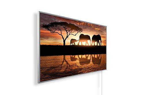 Bild Infrarotheizung (130W/300W/450W/600W/800W/1000W) mit 5 Jahren Garantie (600, Elefantenfamilie im Sonnenuntergang)