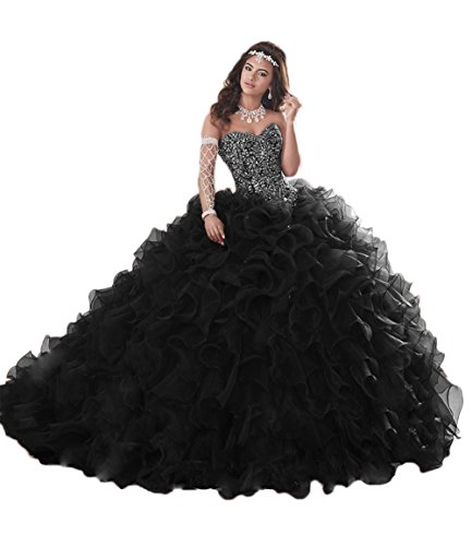 APXPF Women's Organza Ruffle Quinceanera Dresses Prom Ball Gowns for Sweet 16