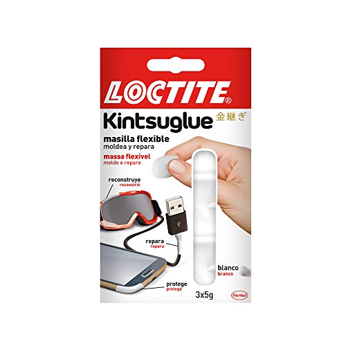 Loctite Kintsuglue, masilla flexible blanca para reparar, reconstruir y proteger objetos, masilla adhesiva moldeable, adhesivo impermeable y removible, 3 x 5 g