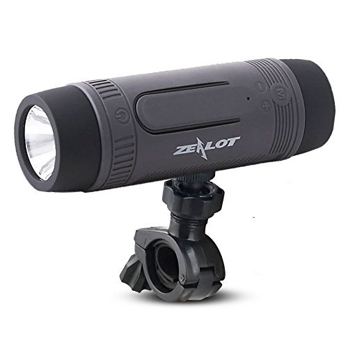 ZEALOT Outdoor Bluetooth Speakers Portable Wireless Bicycle Speaker S1 4000mAh Power Bank Splashproof with Microphone/LED Light/Full Outdoor Accessories (Bike Mount, Carabiner.)(Gray)