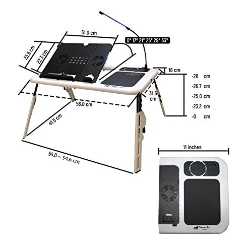 Sunny Gx Foldable Laptop Table - Laptop Desk for Bed, 4 Different Height Adjustments, 2 Cooling Fan,...