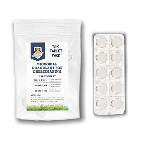 Caglio microbico per formaggio | Compresse di caglio vegetariano | Coagulante del latte | Formaggio vegano | Compresse di caglio stabile per scaffali, forate per un facile utilizzo