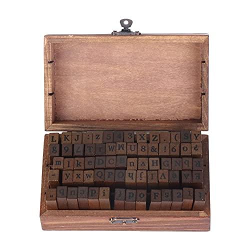 Vegena Juego de sellos del alfabeto, 70 unidades, sellos de letras y números, estilo vintage, madera, números, símbolos con caja de almacenamiento, letras del alfabeto, sellos para manualidades