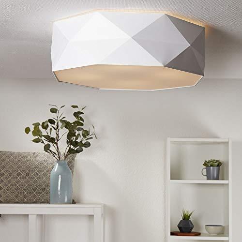 famlights Deckenleuchte Wohnzimmer - Deckenleuchte Schlafzimmer mit Schirm aus Stoff rund - E27 Fassung - Deckenlampe Wohnzimmer groß - verschiedene Farben - rund
