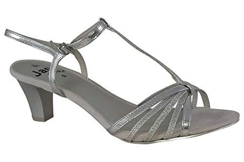 Jana Caviler 28316-24 zilver synthetisch leer dames sandalen, ZILVER, 38 EU
