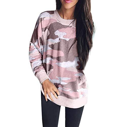 KANGMOON Womens Leopard Camo Printed Long Sleeve Fashion Sweatshirt Casual Loose Pullover T-Shirt Blouse Tops