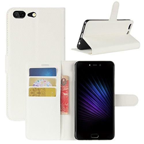 HualuBro Leagoo T5 Hülle, [All Aro& Schutz] Premium PU Leder Leather Wallet Handy Tasche Schutzhülle Hülle Flip Cover mit Karten Slot für Leagoo T5 Smartphone (Weiß)