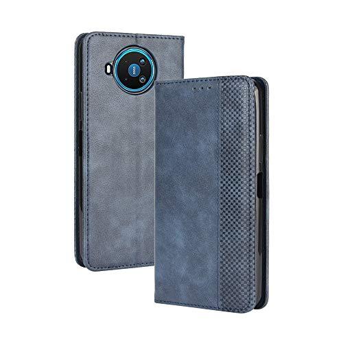 HAOTIAN Leder Hülle für Nokia 8.3 Hülle, Premium PU/TPU Leder Folio Hülle Schutzhülle Handyhülle, Flip Hülle Klapphülle Lederhülle mit Standfunktion und Kartensteckplätzen, Blau