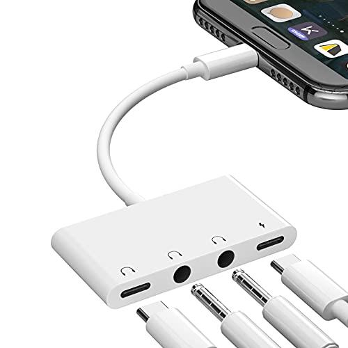 Adaptador Audio Auriculares con Conector USB C a 3.5 mm, Conector Auriculares 4 en 1 de Doble USB C a 3,5 mm +Adaptador Conector Audio USB C+Puerto Carga Tipo C Compatible con i-Pad Pro 2020