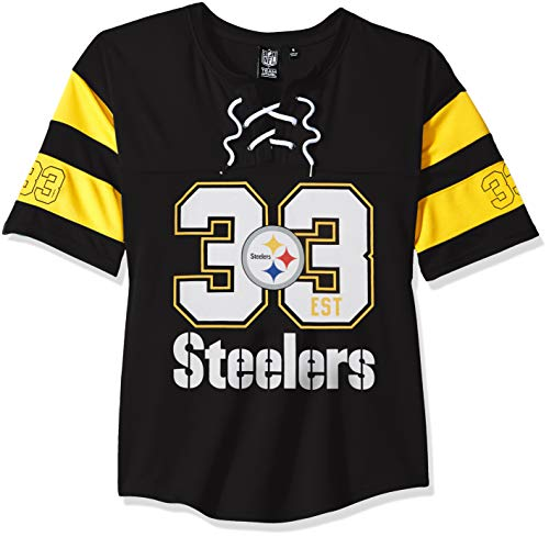 Ultra Game NFL Pittsburgh Steelers Womens Penalty Box Jersey, Team Color, X-Large