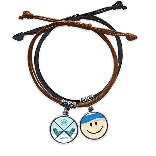 Bestchong Armband mit Skischuhen, Wasserfarbenmuster, Handkette, Leder, lächelndes Gesicht
