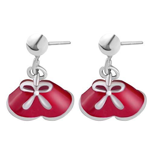 HUYV Pendientes para Mujer,Pendientes De Plata 925 con Forma De Lazo De Campana Roja De Moda para Regalo De Joyería De Cumpleaños De Navidad para Hombres Y Niñas
