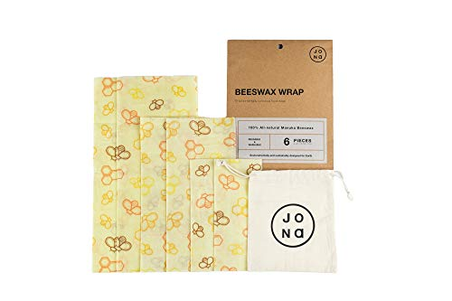 Reusable Beeswax Food Wrap 6 pack With FREE Cotton Storage Bag by Jona Homegoods - Natural, Eco-friendly Plastic Wrap Alternative, Zero Waste Food Storage Wrap