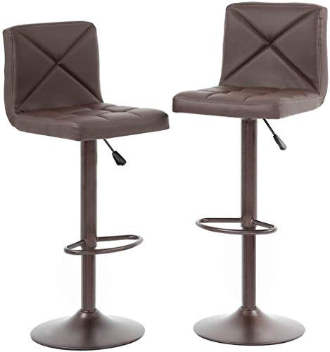 Brown Bar Stools Set of 2, Modern Square PU Leather Bar Stools Barstools Bar Chairs, Height Adjustable Modern Swivel Stool with Back Counter Stools Dinning Chairs, Best Chic Bar Kitchen Home Furniture