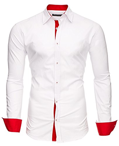 Kayhan Herren Hemd, TwoFace Weiß/Ärmel Rot M