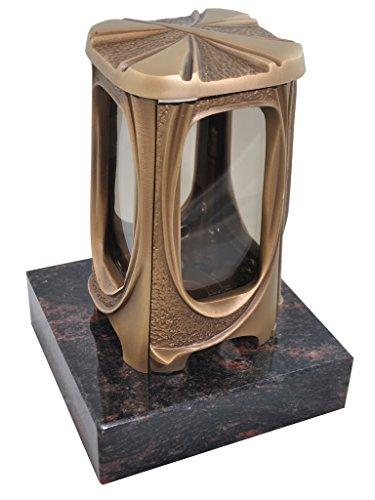 Kunst-Art-Köhl Grablaterne 622 aus massiver Bronze fertigmontiert auf einem Granitsockel (Aurindi)