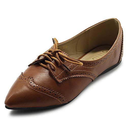 Top 10 best selling list for ollio womens ballet pointed toe flats lace up shoes oxford