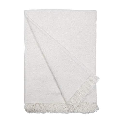 Basic Home Plaid/Foulard Multiusos - Cubre Cama - Sofa - Manta algodón Suave 230x270 cm Crudo