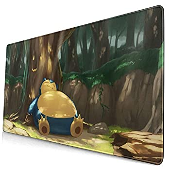 Anime Poke Snorlax Mouse Pad Laptop Non-Slip Rubber Base Extension Game Large Mouse Pad Office Home Gamer 15.8x29.5in