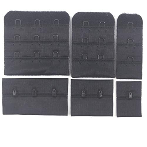 10 set/lote señoras útiles negro blanco sujetador extensores correa extensión ajustable cinturón hecho a mano mujeres sujetador hebilla accesorios DIY-1 gancho 3 filas, negro 001