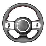 Unknow Housse de Volant de Voiture en Cuir PU Bricolage Noir Cousu à la Main, pour Renault Twingo 3 2014-2019 Twingo RS 2014-2019