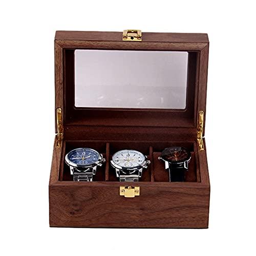 QUNHU Mire la Caja de joyería para los Hombres 3 Caja de Relojes de tragamonedas, Gran Reloj de visualización del Reloj con la Parte Superior de la Ventana de Vidrio Real (3 Ranuras)