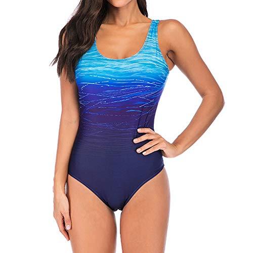 Sale!! WUAI Swimsuits for Women,High Waist Tummy Control Athletic Swimsuit One Piece Bathing Suit Monokini(Blue,Medium)