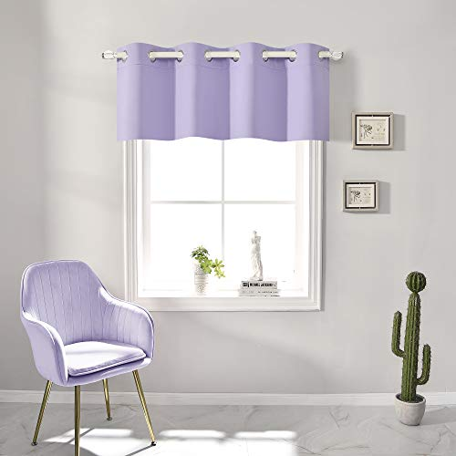 Lavender Light Purple Blackout Valances for Windows 18 Inch Length for Girls Room Solid Thermal Insulated Grommet for Bedroom and Bathroom Curtains Valance for Small Windows 1 Panel 52X18 Inch