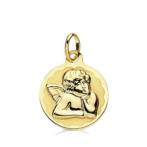 Médaille pendentif Mocking or Ange 14mm 9K. Bébé - personnalisable - enregistrement inclus dans le prix