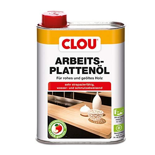 Clou Olej do płyt roboczych do surowego i olejowanego drewna, hydrofobowa i odporna na ścieranie połączenie oleju i wosku, 250 ml