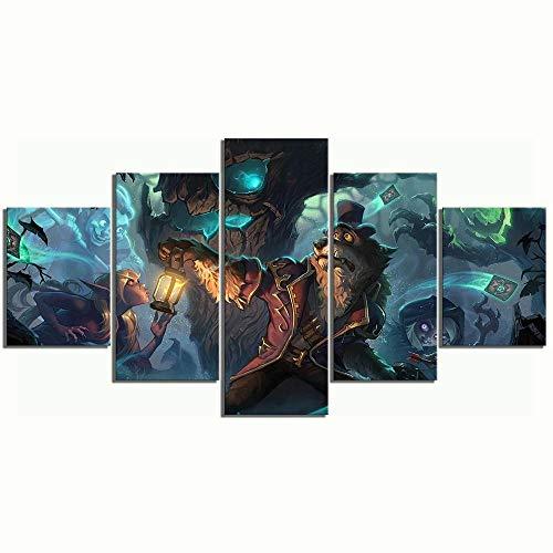 baixiangguo Quadro su Tela - Cinque 5 Tele Pronto da Appendere - Completamente Incorniciato - Elementi Multipli -60' W X 32' H,Hearthstone Heroes of Warcraft Game