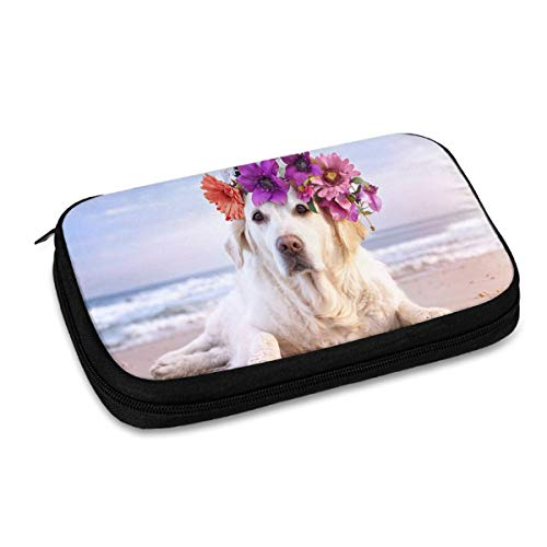 Electronics Organizer Cute Labrador Dog On Beach Electronic Accessories Cable Organizer Bag Travel Cable Storage Bag for Cables, Laptop Charger, Tablet (Up to 9.4'')
