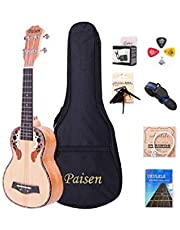 Paisen Spruce Panel Soprano/Concert ukulele Hawaii Ukulele for Beginner and Children Send with thick Bag Tuner Capo Strap Picks Full set of accessories