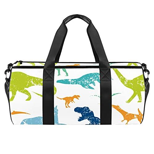 Dino Pattern Print Sports Gym Bag Bolsa cilíndrica de viaje con bolsillo mojado, bolsa de entrenamiento ligera con correa de hombro para hombres y mujeres