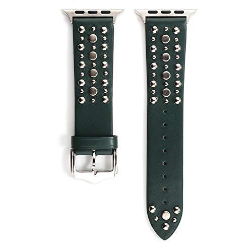 TKPOLD 2021, Remache Band para Apple Watch Series 6/5/4/3 SE Sport Loop Strap Correa Correa para iWatch 38mm 40mm Pulsera para Apple Watch 44 / 42mm Cinturón de Cuero