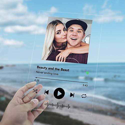 Canción personalizada Spotify de acrílico – Cubierta de álbum – Placa de música personalizada – Perfecto para regalos de cumpleaños del día de San Valentín