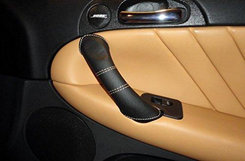 Alfa Romeo 147 rivestimenti maniglie dx e sx vera pelle nera cuciture cuoio