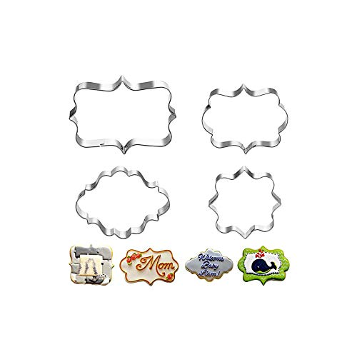 BETOY Stainless Steel Plaque Frame Pastry Biscuit Cookie Cutter Cake Fondant Pancake Cutters Mold Pack of 12pcs