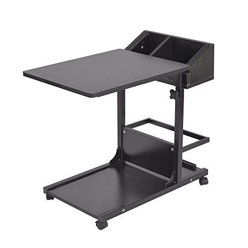 soges 高さ調節 昇降式サイドテーブル サイドテーブル ベッドサイドテーブル ノートパソコンスタンド 可移動デスク キャスター付きデスク 収納棚 付き ナイトテーブル (103#2-ブラック)