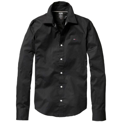 Big Sale Tommy Hilfiger Men's Sabim Slim Fit Shirt (Medium, Black)