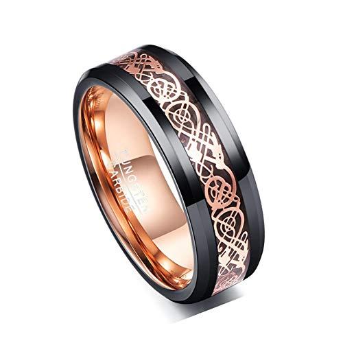 Corato 8mm Black Dragon Ring for Men Women Rose Gold Celtic Tungsten Wedding Bands Beveled Edge Size 6