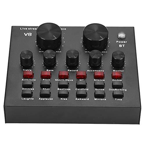 V8 Audio Soundkarte, schwarzer externer Bluetooth Audio Mixer, tragbarer PC Karaoke Live Broadcast DJ Soundcontroller, mehrsprachige Soundkarte zum Wechseln, 7 Arten von Verbindungsmethoden usw.