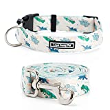 LoyalSunnypet Cute Dog Collar and Leash Set with Quick Release Buckle,Premium,Adjustable Soft Comfortable Floral Collars for Girl Dogs