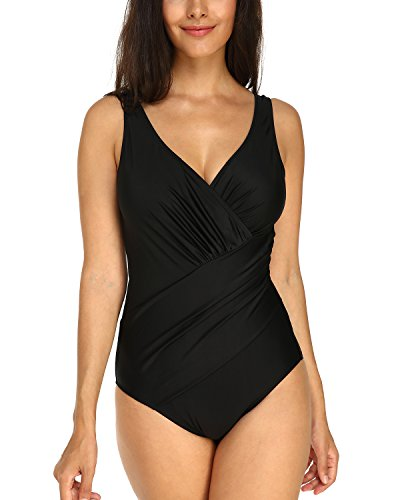 KISSLACE Badeanzug Damen Bauchweg Sexy Badeanzug Damen Große Größe Shape Monokini Damen Push up Push up Badeanzüge Bademode Frauen(Schwarz XXL