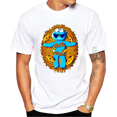 hanbing T Shirts Cool American Cookie Men T-Shirt Cookie Printed Monster Graphic Tshirt Hipster Design Tops O Neck Funny Tee Men White XL