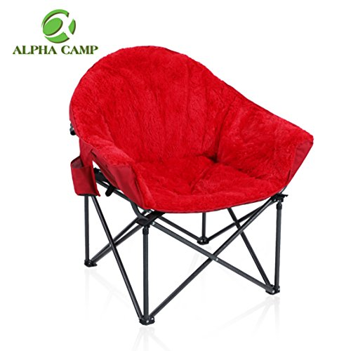 ALPHA CAMP Plush Moon Saucer Chair with Carry Bag - Supports 350 LBS, Red