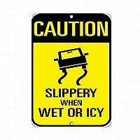 メタルサイン 安全サイン 危険サイン 注意 濡れていると滑りやすい 交通標識 ウォールアート 警告 注意 ブリキ看板 道路ヤードの装飾品質 アルミニウム (1個セット)