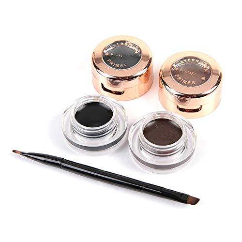 2 en 1 crema de delineador de cejas duradera impermeable marrón negro, herramienta cosmética de maquillaje ahumado con pincel de maquillaje para niñas mujeres