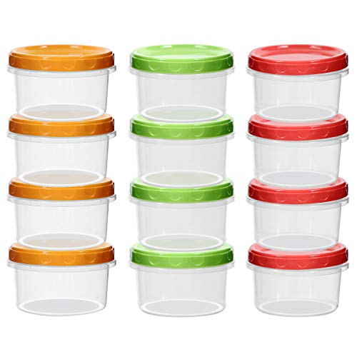 12-pack 8oz/250ml reuseable small freezer storage containers with screw lid for food lunch baby kids snacks slime |Sturdy Plastic|BPA Free | Freezer & Dishwasher Safe|